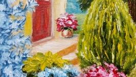 Картина маслом, миниатюра, пейзаж ′Уютный дворик′ солнечный