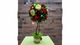 Цветочный топиарий, оригинальный подарок.