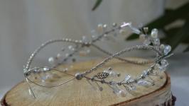 Свадебный ободок, венок с жемчугом и горным хрусталем  ′Патрисия′