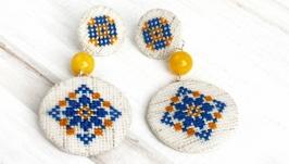 Украинские серьги двухъярусные диски к вышиванке