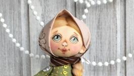 Куколка текстильная Девочка с грибами.