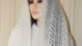 Оренбургский пуховый палантин ′ Невеста′
