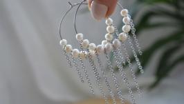 Серьги - кольца с жемчугом  ′Нежные сны′
