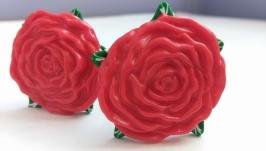 Шпильки для волос ручной работы ′Красные розы′