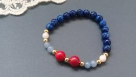 Браслет синій з червоним