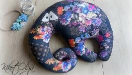 Подушка Игрушка под шею Слоник в цветочек