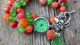 ′Царевна-лягушка′ оранжево-зеленые женские наручные часы