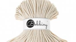 Трикотажный хлопковый шнур Bobbiny Rope Молоко с Золотом, 5мм