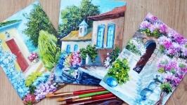 Подарочный набор Картины маслом, миниатюры, летние пейзажи - комплект 3 шт