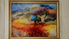 Картина из шерсти ′ Домик в горах ′
