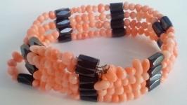 Ожерелье браслет Розовый коралл 92 см Ожерелье браслет коралловый