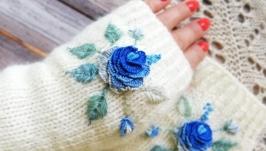 тут изображено Митенки Синяя Роза