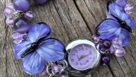 ′Аметистовые бабочки′ фиолетовые наручные часы с бусинами лэмпворк