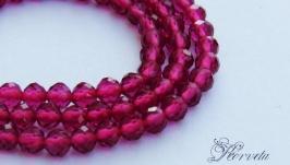 Рубин синтетический бусины ювелирная огранка 3 мм