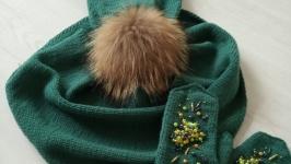 комплект: шапка, варежки, бактус