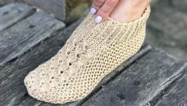Домашние тапочки женские вязаные шерстяные 38 разм. Следки Капці