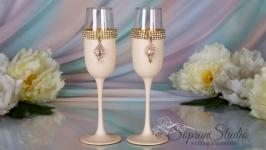Роскошные свадебные бокалы ′Улыбка маркизы′ кремовые.
