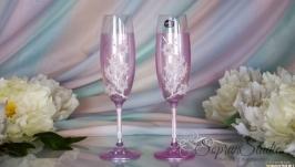 Свадебные бокалы со стразами Swarovski ′Розовые мечты′.