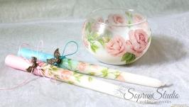 Свечи на свадьбу ′Bridal Bubbles′ декупаж.