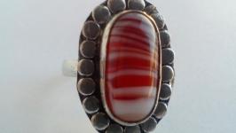 Кольцо Агат натуральный Кольцо ручной работы 18 размера