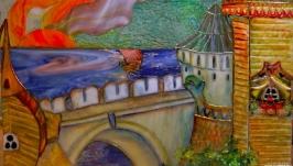 Град озаренный-витраж тиффани в окно,по мотивам рисунков И. Билибина