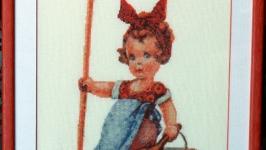 Картина «Помощница»,ручная работа, вышивка.