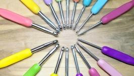 Крючки для вязания 2.5-6мм, цветные. Наборы 8шт.