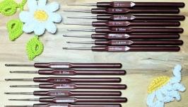 Крючки для вязания 0,5-2.5мм, коричневые. Наборы 8шт.
