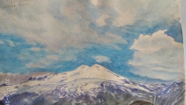 ′Вид на Эльбрус с горы Чегет′