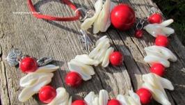 ′Красное море′ комплект украшений (браслет, серьги, кулон) с кораллом