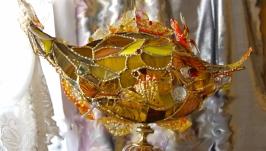 Золотая рыбка-витражный светильник в стиле тиффани