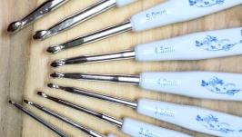 Крючки для вязания 2.5-6мм с плоскими синими ручками. Набор 9шт.