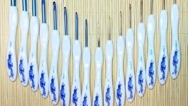 Крючки для вязания ′синие цветы′ 1-6мм с эргономичной ручкой. Наборы