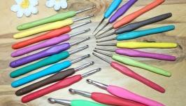 Крючки для вязания 0.5-10мм с резиновой ручкой, цветные. Наборы