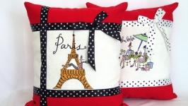 Подушка с вышивкой Париж