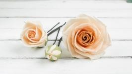 Шпильки для волос с цветами, Розы в прическу для невесты