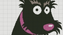 Схема для вышивки крестом: Чёрный пёс