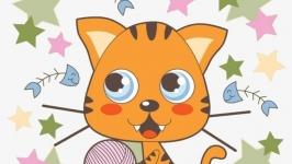 Схема для вышивки крестом: Котик с клубком