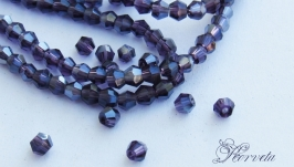 Биконусы хрустальные фиолетовые с АВ напылением 2х3 мм