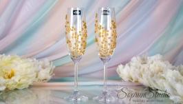 Бокалы на свадьбу Bohemia золотые ′Ангел′.