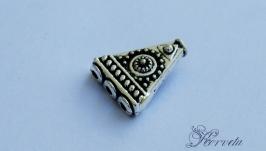 Бусина-разделитель на 3 нити цвета античное серебро