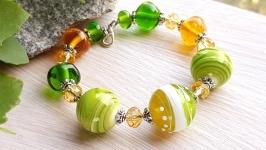 Браслет лэмпворк желто-зеленый