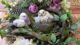 Декоративна композиція гніздо міні сад топіарій декор інтерьеру