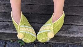 Домашние тапочки женские вязаные шерстяные 38-39 размер. Домашняя обувь.