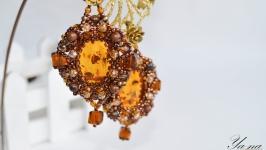 Серьги из бисера и янтаря ′Янтарные′