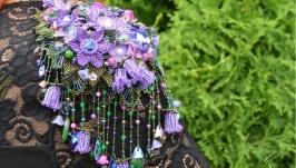 Брошь-эполет из бисера, стразов Сваровски и натуральных камней ′Пролетье′