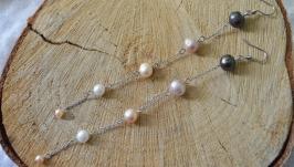 Серьги - цепочки с натуральным жемчугом ′Альтаир′