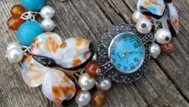 ′Осеннее небо′ наручные часы с бусинами лэмпворк