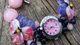 ′Розовый сад′ часы с бусинами лэмпворк