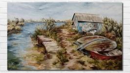 Картина маслом ′Черноморская коса′ 30х50см, холст на подрамнике, масло